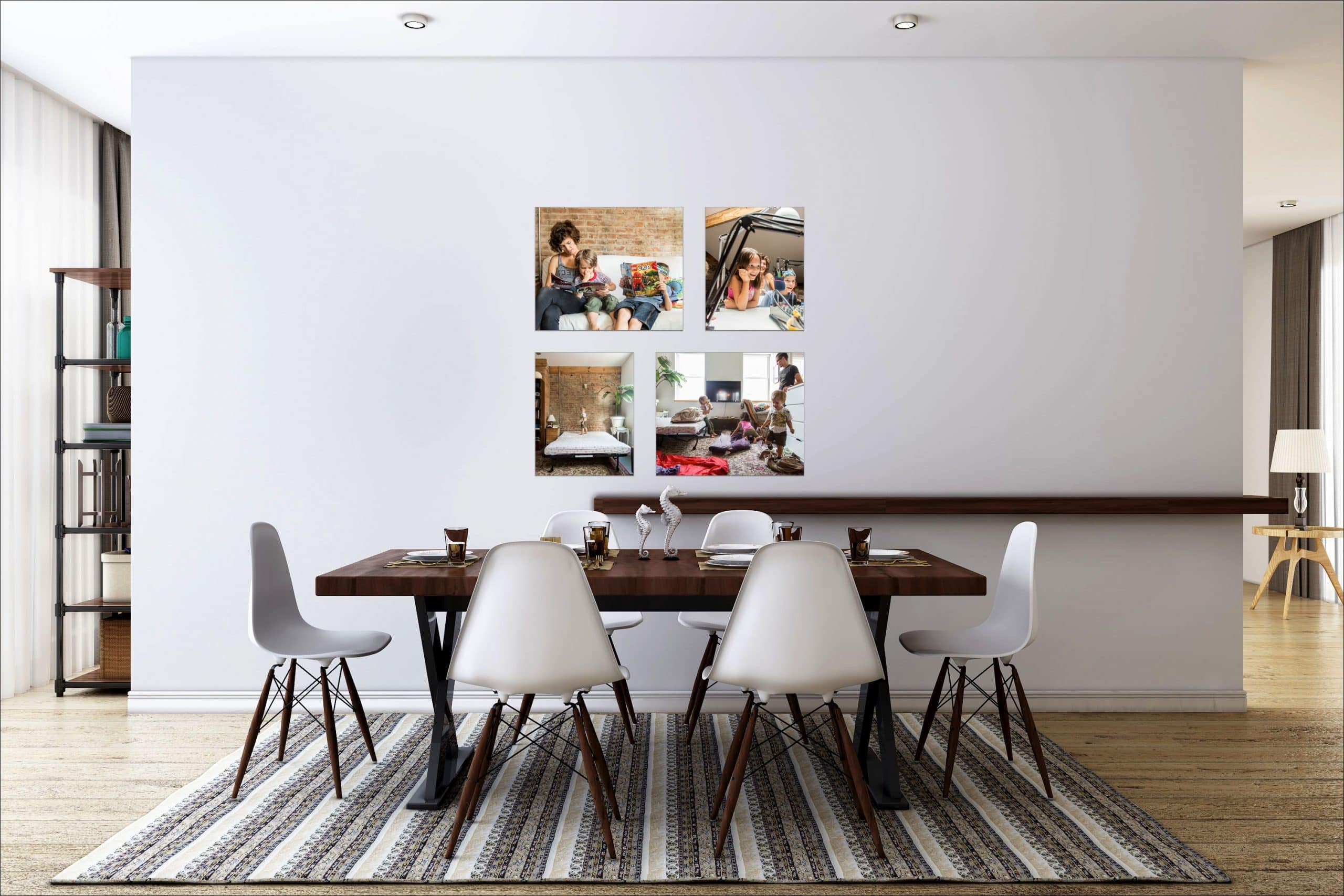 Family Portraits on Dining Room Wall
